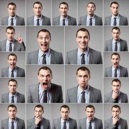 Foto de set of handsome emotional man over dark background - Imagen libre de derechos