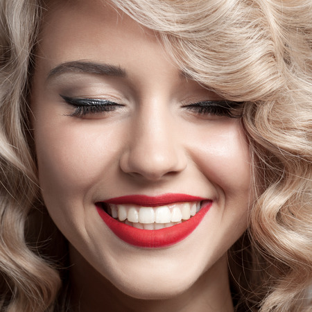 Photo for Close up face of beautiful Woman. Healthy Curly Hair. Gorgeous smile. - Royalty Free Image