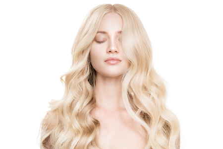 Photo for Portrait Of Beautiful Young Blond Woman With Long Wavy Hair. - Royalty Free Image