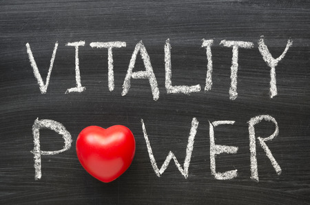 Photo for vitality power phrase handwritten on the school blackboard - Royalty Free Image