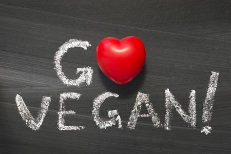 Photo for Go Vegan  phrase handwritten on the school blackboard - Royalty Free Image