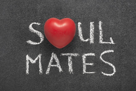 Photo for soul mates phrase handwritten on blackboard with heart symbol instead of O - Royalty Free Image