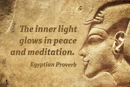 Foto de The inner light glows in peace and meditation - ancient Egyptian Proverb citation - Imagen libre de derechos
