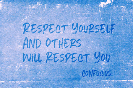 Photo for Respect yourself and others will respect you - ancient Chinese philosopher Confucius quote printed on grunge blue paper - Royalty Free Image