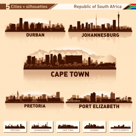 Illustration for City skyline set South Africa Vector silhouette illustration  - Royalty Free Image