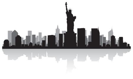 Illustration for New York USA city skyline silhouette vector illustration - Royalty Free Image