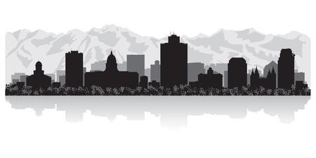 Ilustración de Salt Lake city USA skyline silhouette vector illustration - Imagen libre de derechos