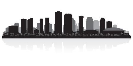 Illustration pour New Orleans USA city skyline silhouette vector illustration - image libre de droit