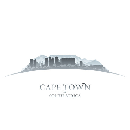 Ilustración de Cape Town South Africa city skyline silhouette. Vector illustration - Imagen libre de derechos