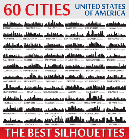 Illustration pour Incredible skyline set. 60 city silhouettes of United States of America - image libre de droit
