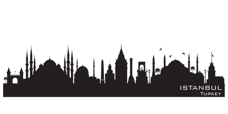 Illustration pour Istanbul Turkey skyline Detailed vector silhouette - image libre de droit