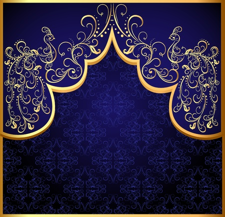 Illustration for illustration decorative background frame with gold(en) peacock - Royalty Free Image