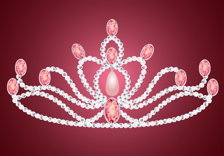 illustration tiara crown womens wedding on the pink mural