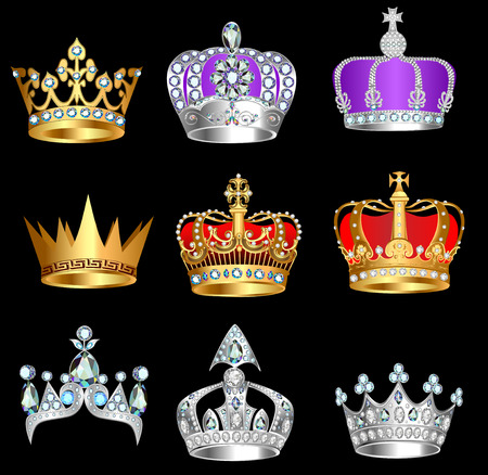 Illustration for illustration set of crowns with precious stones on a black background - Royalty Free Image