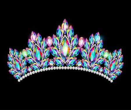 Illustration for illustration crown tiara women with glittering precious stones - Royalty Free Image