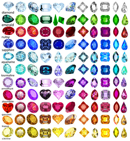 Illustration for illustration set of precious stones of different cuts and colors - Royalty Free Image