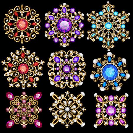 Illustration pour Illustration set of vintage pendants ornament made of beads. - image libre de droit