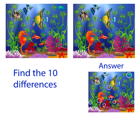 Illustration pour Children's illustration Visual Puzzle: find ten differences from the fish in the sea - image libre de droit