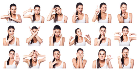 Photo pour Composite of positive and negative emotions and gestures with girl - image libre de droit