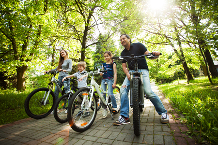 happy family on a bike ride