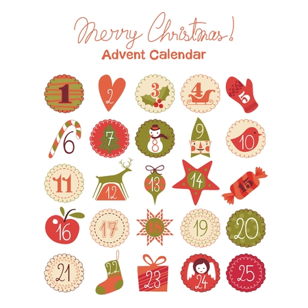 Illustration for Advent calendar with various seasonal objects and symbols - Royalty Free Image