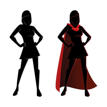 Ilustración de Vector illustration of a female superhero silhouette - Imagen libre de derechos