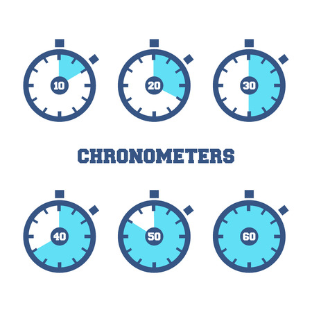 Ilustración de Set of sport chronometers icon in different time laps - Imagen libre de derechos