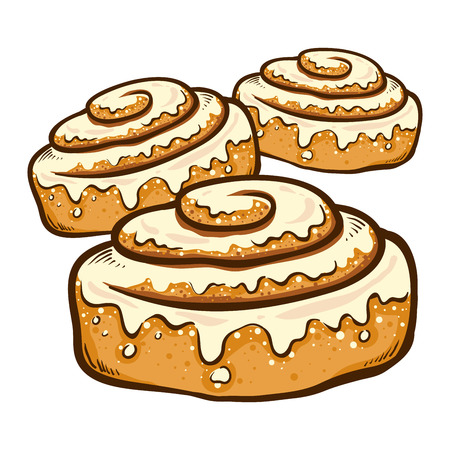 Illustration for Vector illustration of a hand drawing cinnamon roll bun with frosting - Royalty Free Image