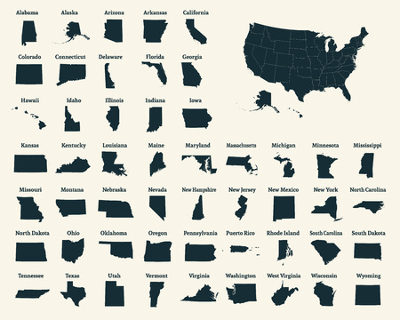 Illustration pour Outline map of the United States of America. 50 States of the USA. US map with state borders. Silhouette of the USA. Vector illustration. - image libre de droit