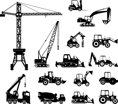 Photo pour Silhouette illustration of heavy equipment and machinery - image libre de droit