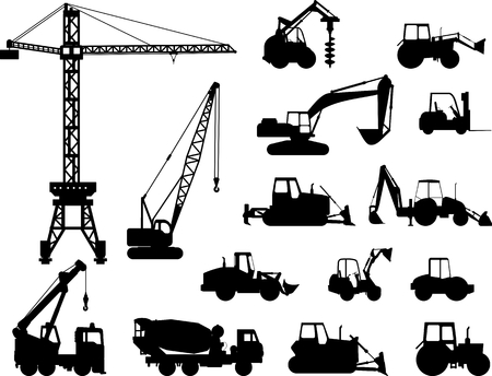 Illustration pour Silhouette illustration of heavy equipment and machinery - image libre de droit