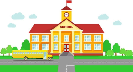 Photo pour Classical school building and school bus isolated on white background - image libre de droit