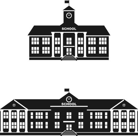 Foto de Silhouette illustration different variants of classical school building in a flat style. - Imagen libre de derechos