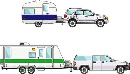 Illustration pour Modern caravan. Detailed illustration of car and travel trailers in flat style - image libre de droit