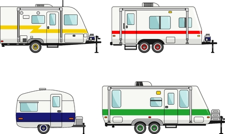 Illustration pour Detailed illustration of travel trailer caravans in flat style. - image libre de droit
