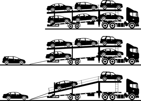Illustration pour Silhouette illustration of car auto transporters on white background in flat style in different positions. - image libre de droit