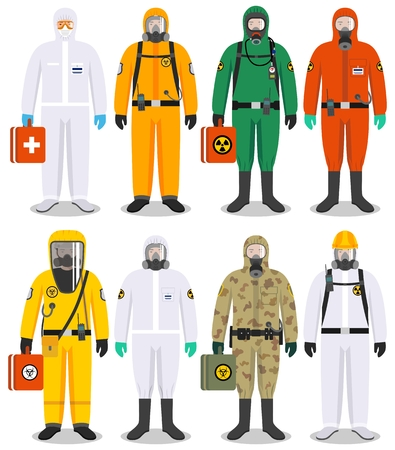 Illustrazione per Set of colorful different people in differences protective suits in flat style. Dangerous profession. Vector illustration. - Immagini Royalty Free