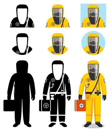 Illustration pour Industry concept. Illustration of worker in protective suit. - image libre de droit