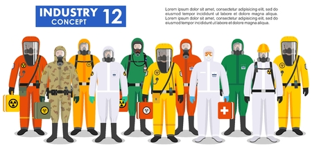 Illustration pour Group different workers in differences protective suits standing together in row on white background in flat style. Dangerous profession. Vector illustration. - image libre de droit
