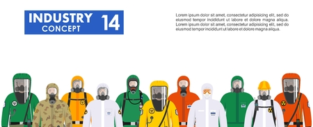 Illustrazione per Group different workers in differences protective suits standing together in row on white background in flat style. Dangerous profession. Vector illustration. - Immagini Royalty Free