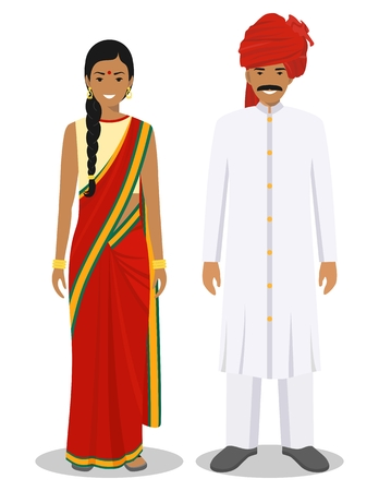Illustration for Set of standing together indian man and woman in the traditional clothing isolated on white background in flat style. Differences people in the east dress. Vector illustration. - Royalty Free Image