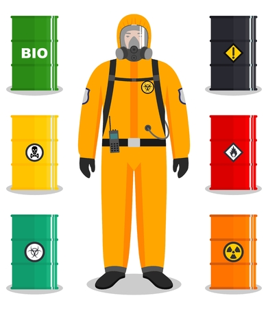 Illustrazione per Industry concept. Detailed illustration of worker in protective suit. Metal barrels for oil, biofuel, explosive, chemical, radioactive, toxic, hazardous, dangerous, flammable and poisonous substances. - Immagini Royalty Free