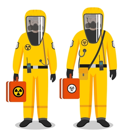 Illustrazione per Chemical industry concept. Couple of workers man and woman in yellow protective suits standing together on white background in flat style. Dangerous profession. Vector illustration. - Immagini Royalty Free