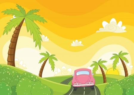 Illustration pour Sunset illustration - image libre de droit