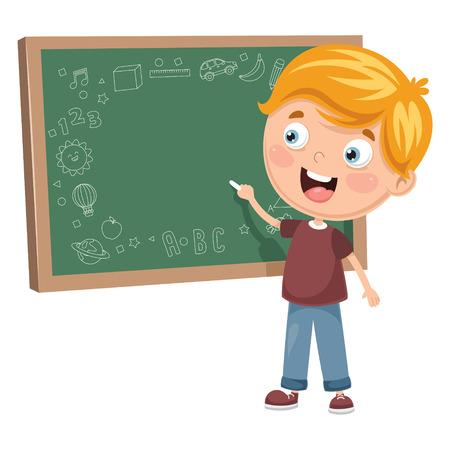 Ilustración de Vector illustration of a kid writing on blackboard. - Imagen libre de derechos