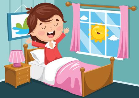 Ilustración de Vector Illustration Of Kid Waking Up - Imagen libre de derechos
