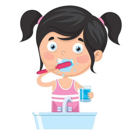 Ilustración de Vector Illustration Of Kid Brushing Teeth on white background. - Imagen libre de derechos