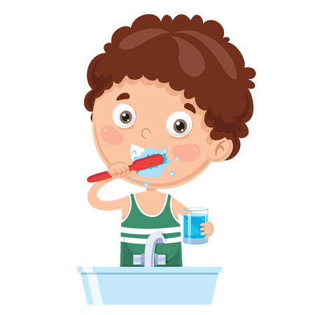 Illustration pour Vector Illustration Of Kid Brushing Teeth - image libre de droit
