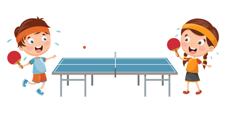 Ilustración de Vector Illustration Of Kids Playing Table Tennis - Imagen libre de derechos