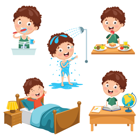Illustration for Vector Illustration Of Kids Daily Routine Activities - Royalty Free Image